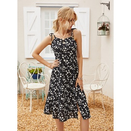 New Summer Casual Printed Floral Sling Split Dress NSAL32473