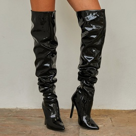 New Pointed Toe Patent Leather High-heel Boots  NSSO32504
