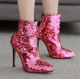 New Plus Size Rose Red Sequined High-heeled Boots  NSSO32511
