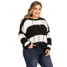 Sexy Backless Black And White Stripes Woven Pullover  NSOY32640