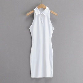 Polo Collar Casual Solid Color Vest Dress NSAC32681