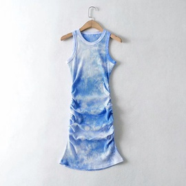 Fashion All-match Tie-dye Pleated Vest Dress NSAC32729