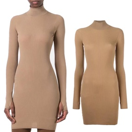 Sexy Half High Neck Knitted Dress NSAC32759