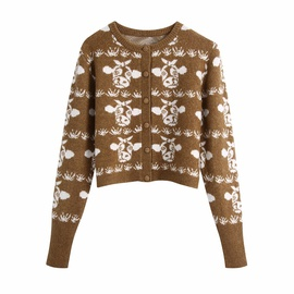 Spring Animal Print Knitted Cardigan Jacket   NSAM32809