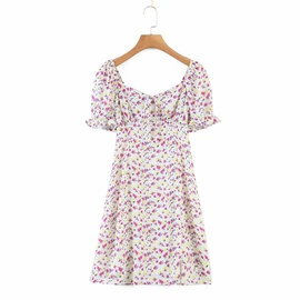 Retro Small Floral Lace-up Square Neck Dress NSAM32815