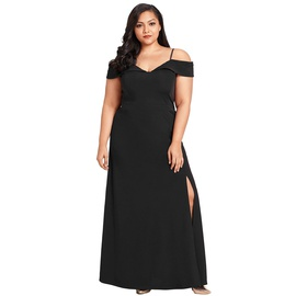 Sling Strapless Slit Long Plus Size Dress NSSI32894