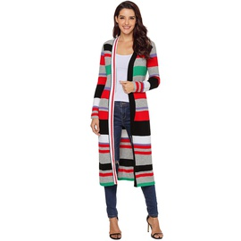 Multicolor Striped Long-sleeved Jacket Cardigan  NSSI32903