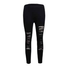 Ripped Solid Color Leggings  NSSI32932