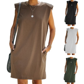 Casual Loose Round Neck Sleeveless Dress NSKL32951