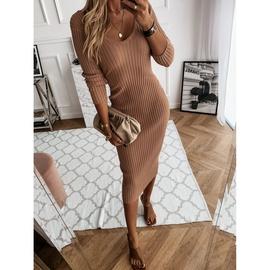 Long-sleeved V-neck Solid Color Dress NSZH33141