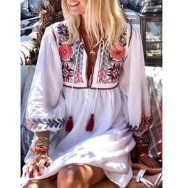 Casual Loose Printing Long-sleeved Dress NSZH33166