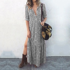 Print Long Sleeve Split Long Dress NSZH33171
