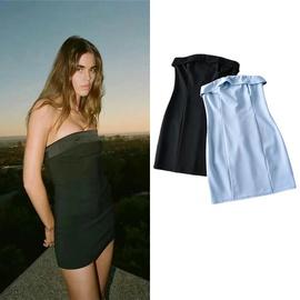 Sexy Tube Top Design Elastic Slim Short Dress  NSLD33203