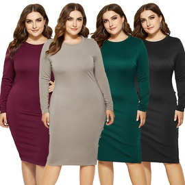 Autumn And Winter Plus Size Fashion Round Neck Long Sleeve Solid Color Dress NSLM33246