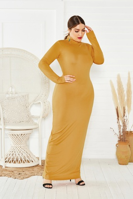 High Neck Long Sleeve Fashion Plus Size Dress NSLM33249