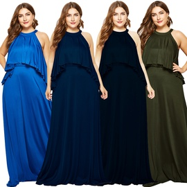 New Plus Size Long Hanging Neck Strapless Sleeveless Dress NSLM33253