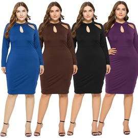 Sexy Solid Color Hollow Long-sleeved Plus Size Dress NSLM33255