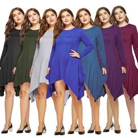 Solid Color Round Neck Long Sleeve Pocket Dress NSLM33260