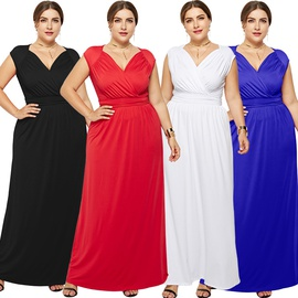 Solid Color Slim Sexy Plus Size Dress NSLM33262