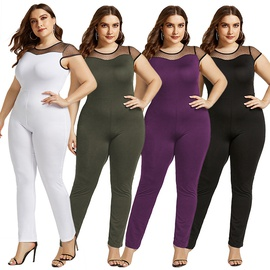 Mesh Stitching Sexy Large Size Fashion Short Sleeve Round Neck Jumpsuit NSLM33270