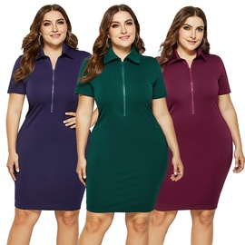 Plus Size New Solid Color Lapel Short Sleeve Skirt  NSLM33274