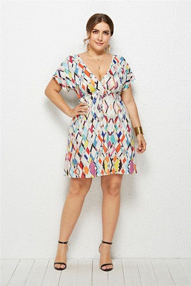 Plus Size Sexy V-neck Elastic Waist Printed Dress  NSLM33280