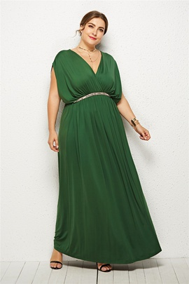 High Waist Fashion Bat Sleeves Plus Size Long Dress  NSLM33281