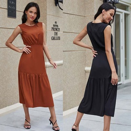 Chiffon Sleeveless Round Neck Plus Size Dress NSLM33288