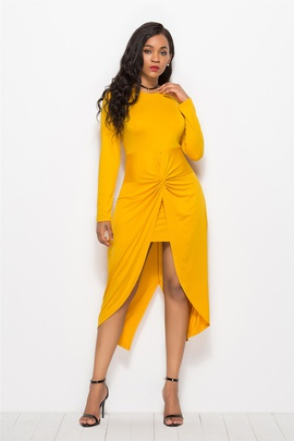 Dovetail Pleated Solid Color Plus Size Dress NSLM33314