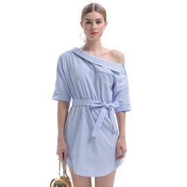 Oblique Shoulder Irregular Short-sleeved Dress NSJR33355