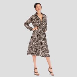 Leopard Print Lace-up Sexy Long Sleeve Dress NSJR33360