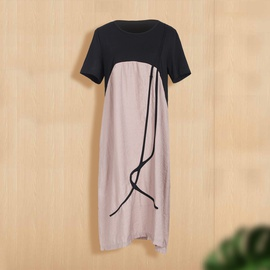 Large Size Loose Splicing Short-sleeved Dress NSJR33367