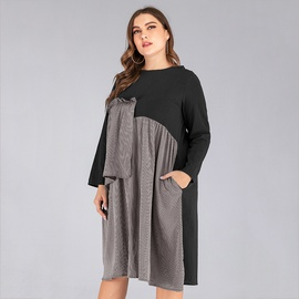 New Casual All-match Plus Size Striped Stitching Dress  NSJR33380