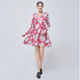 Print Round Neck Loose Long Sleeve Dress  NSJR33388