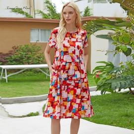 Fashion Loose Abstract Tie-dye Plus Size Dress  NSJR33402