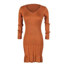 V-neck Long-sleeved Hem Pleated Knitted Dress NSJR33413