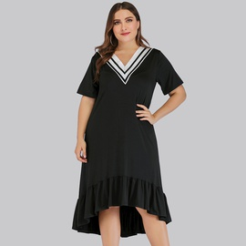 New Plus Size Loose V-neck Stretch Mid-length Black Dress  NSJR33416