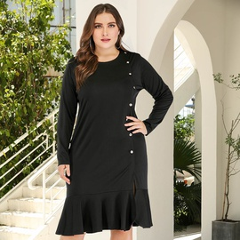 Autumn New Plus Size Slimming Split Ruffle Dress  NSJR33420