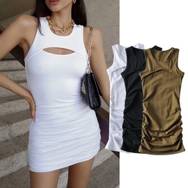 Hollow Sexy Pleated Sleeveless Dress NSHS33464