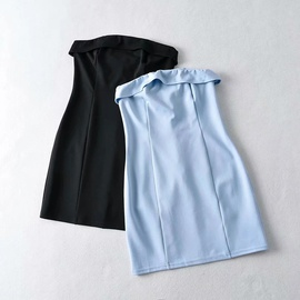 Lapel Sexy Tube Top Solid Color Dress NSHS33465