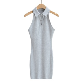 Lapel Sleeveless Narrow Shoulder Dress   NSHS33471