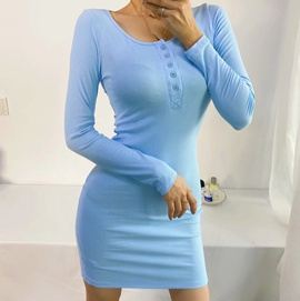 Five Button Sexy Long-sleeved Base Dress NSHS33477