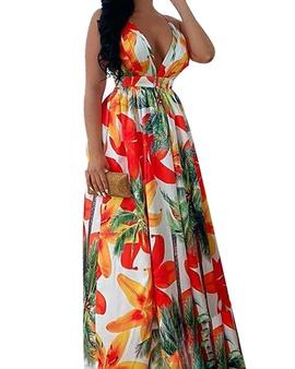 Sexy Low-cut Sling V-neck Print Big Swing Dress NSCZ33489