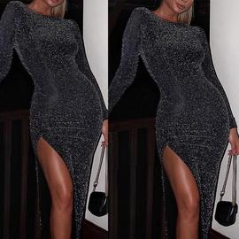 Long-sleeved Round-neck Slim-fit Dress NSCZ33493