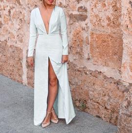 Sexy Deep V Neck Long Sleeve Folded Dress NSCZ33503