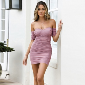 Sexy Tube Top One-line Neck Mesh Pleated Dress NSZY33629