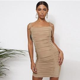 Sexy Sling Fold Drawstring Strapped Dress  NSZY33639
