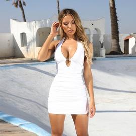 Sexy Bandage Halter Deep-v Dress NSZY33640