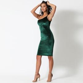 Gold Velvet One-shoulder Sexy Sling Dress NSZY33641