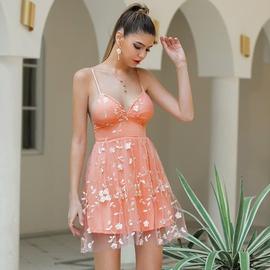 Sexy Sling V-neck Ruffled Lace Stitching Dress NSWX33680
